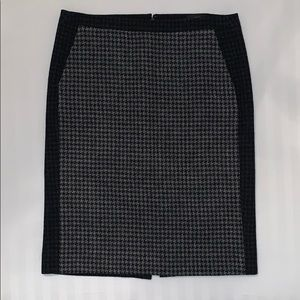 J.Crew wool pencil skirt, black/gray watch plaid